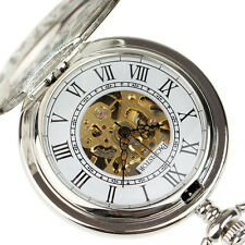 Classic Mens Double Hunter WindUp Skeleton Mechanical Pocket Chain Watch Vintage