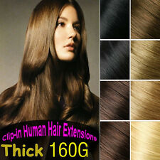 160g 170g 8PCS Clip in 100%Real REMY Human Hair Extension,Black,Brown,Full Head