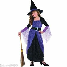 GIRLS DELUXE PURPLE PRETTY POTION WITCH HALLOWEEN FANCY DRESS COSTUME AND HAT BN