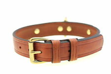 1 1/4 Light Brown Show Harness Leather Domed Dog Collar Center Back D-Ring Brass