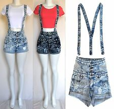 High Waisted/Rise Acid mineral wash sexy Classic Overall Jean Shorts