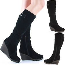 Ladies Wedge Shoes High Heel Wedges Platform Knee Boots Size Fur