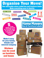 Labels For Moving Boxes & Furniture - Colour Coded Stickers - Removable Adhesive