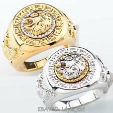 A1-R069 Men's 19mm Band Ring Cool Lion Eagle Star 18KGP Size 8-14