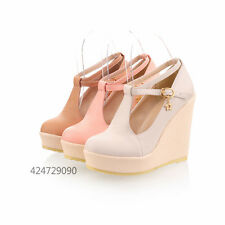 Womens Ladies Shoes Wedge Platform Sandals T-Straps High Heels Pumps YD271