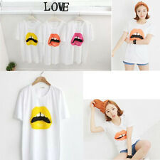 Ladies Women Lip Graphic Print T-Shirt Top Blouse Made in KOREA
