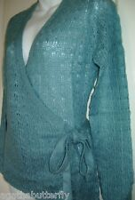 Cardigan Jumper Turquoise Lightweight Knit La Redoute Wrap Around Tie Belt  NEW
