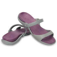 Women Crocs Cleo Silde Sandal Silver Lilac 100% Original Brand New With Tag