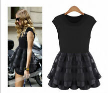 2014 Summer Fashion Lace Knit Dress Korean Shopping Stitching Stretch Organza