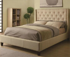 NEW MAXEN CONTEMPORARY BUTTON TUFTED FABRIC QUEEN or EASTERN KING BED