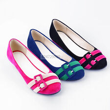 Womens Flats Low Heel Wedge Buckle Court Shoes Loafer Pumps US 4-7.5 Size Z323