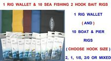 RIG WALLET+10 BOAT & PIER RIGS SEA FISHING 2 HOOK FLAPPER BEACHCASTER ROD LURES