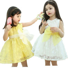 Vogue Girls Princess Flower Toddler Clothing Pageant Bow 2-7Y Kids Wedding Dress