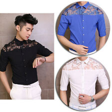 Men Fashion Shoulder See Through Lace Short Half Sleeve Casual Dress Shirt Tops