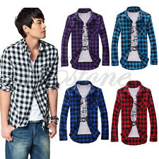 Hot Selling Mens Stylish Slim Fit Casual & Dress Plaid Check Shirt Korean Style