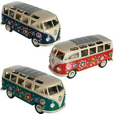 VW CAMPER VAN BUS TOY KIDS CLASSIC DIECAST SCALE 1/24 CAR MODEL HIPPY NEW BOYS