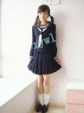 Japanese Japan High School Girl Blue Cute Long-Sleeved Uniform Cosplay Costume