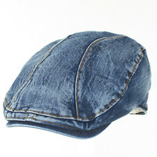 New Mens Denim Flat Cap Cabbie Driving Hat Gatsby Ivy Newsboy Golf Cotton Jean