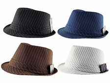 ITZU Apparel Co.Classic Pinstripe Trilby Fedora Hat Cap Black.Brown.White.Navy