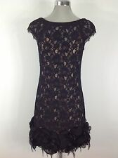 Jessica Simpson NWT Black Lace Dress with Feather and Organza Ruffled bottom