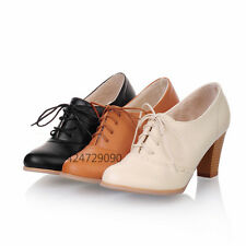 Womens Ladies Lace Up Oxfords Ankle Bootie High Heels Miss Shoes Pumps Size D411