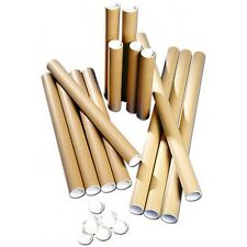Extra Strong Cardboard Postal Poster Tubes Tube Plastic End Caps A0 A1 A2 A3 A4
