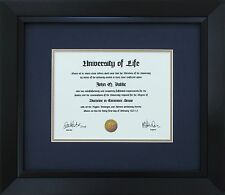 "Black Wood Frame with mats & glass for 11x14"" Diploma Certificate Document"
