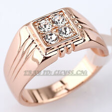 Men's Band Ring 18KGP Gold Plated use CZ Rhinestone Crystal Size 6.5-14