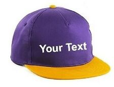 Childs Personalised Flat Peak Snapback Cap Your Name Text Retro Style 7 Colours