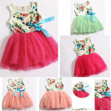 Floral Retro Baby Girls Kid One-Piece TuTu Dress Sleeveless Dress Princess Skirt