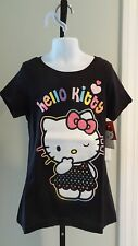 NWT Hello Kitty Girl's Black Glitter Tee - Sizes 7-12