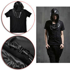 Men Short Sleeve Faux PU Leather Patch Hoodies T-Shirt Stylish Slim Fit Tee Tops