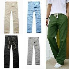 New Men's Linen Pants Trousers Comfortable Flax Straight Long Casual Pants L-XXL