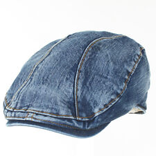 New Mens Denim Cabbie Driving Hat Gatsby Ivy Newsboy Golf Cotton Jean Flat Cap