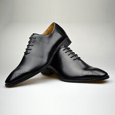 Mens Fashion New Black Leather Brouge Shoes Formal Smart UK Size 6 7 8 9 10 11