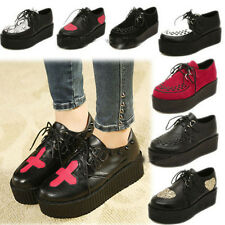 Womens Retro High Platform Trendy Creepers Punk Shoes Lace Flat All-match Shoes