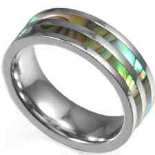 8MM Size 7-15 Stainless Steel Ring Band Shell Inlay Forest Puzzle Wedding Father