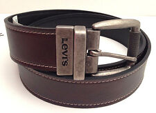 LEVI'S Men's Leather Belt - Brown~Black Reversible w/ Grey Buckle ~ Various Size