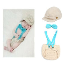 1 Set Baby Bow Tie Overall Newborn-24M Knit Crochet Photo Prop Hat Cap Outfits