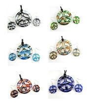 Peace Symbol Dichroic Murano Lampwork Glass Earrings Pendant Necklace Set