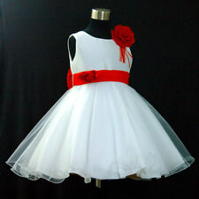 R668 Red White Wedding Party Dress Pageant Flower Girls Dresses Age 1 to 12 Year