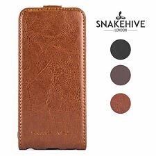 SNAKEHIVE® Genuine Real Leather Flip Case Cover for HTC One M8 (2014 Model)