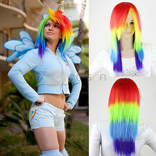 My Little Pony Rainbow Dash Multi Color Long Synthetic Party Hair Wigs Tail Set