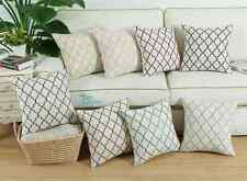 "17"" X 17"" Cushion Covers Pillows Shell Modern Trellis Chain Accent Embroidered"