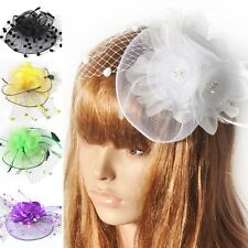 bridal ladies day hens races netting fascinator hair clip accessory feather veil