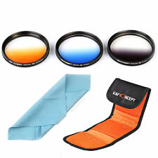 Graduated Color Lens Filter Kit ND Grey Blue Orange For Canon 37 49 52 58 67 77