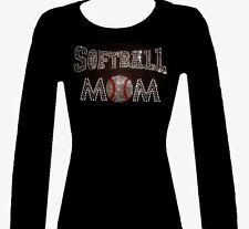 RHINESTONE (SOFTBALL MOM) NEW LONG SLEEVE T-SHIRT, BLACK SIZE: S,M,L,XL,1XL,2XL,