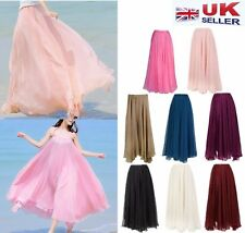 NEW WOMEN ELASTIC WAISTBAND PLEATED CHIFFON BIG WAVE LONG MAXI SKIRT--UK Seller