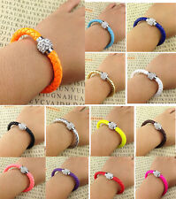 Bracelet Bangle Pick Leather Wrap Wristband Cuff Punk Magnetic Rhinestone Buckle