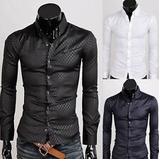 Mens Luxury Slim Fit Button-down Quilted Long Sleeve Dress Casual Shirt Tee Tops